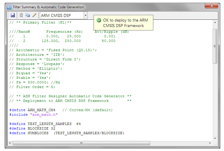 Implementing Biquad IIR filters with the ASN Filter Designer and the