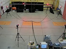 Typical lab based Gait analysis setup with cameras and pressure mats