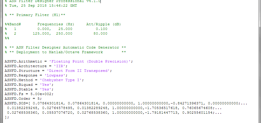 The complete automatically generated code is shown below, where it can be seen that the biquad gains have been pre-multiplied with the feedforward coefficients.