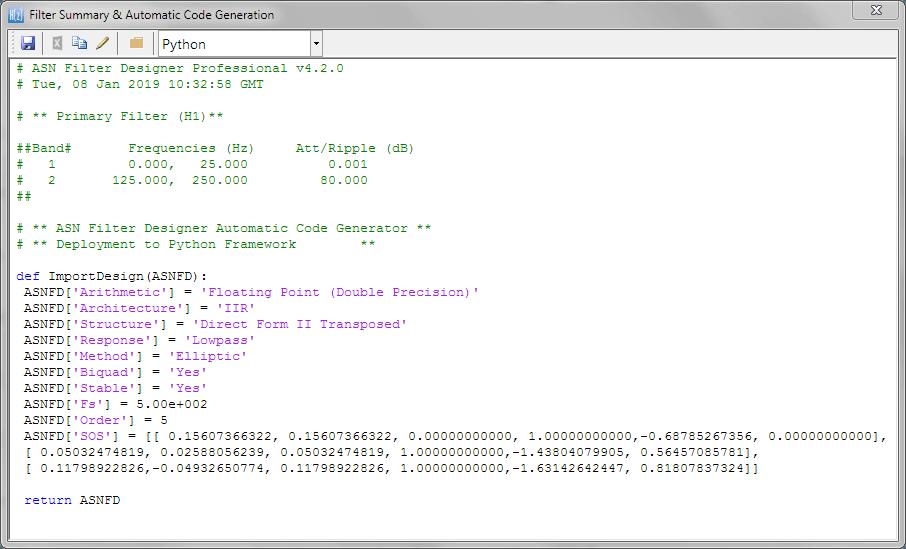 ASN Filter Designer automatic code generation Python