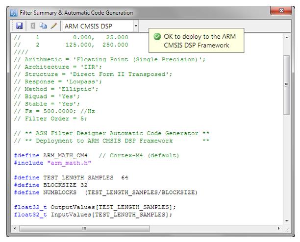 Der automatisch generierte C-Code auf Basis des CMSIS-DSP-Frameworks für die direkte Implementierung auf einem Arm-basierten Cortex-M-Prozessor ist dargestellt