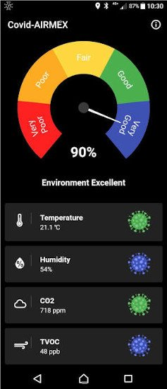Airmex covid safe and healthy office measuring Temperature, humidity, TVOC and CO2 and working with Bluetooth