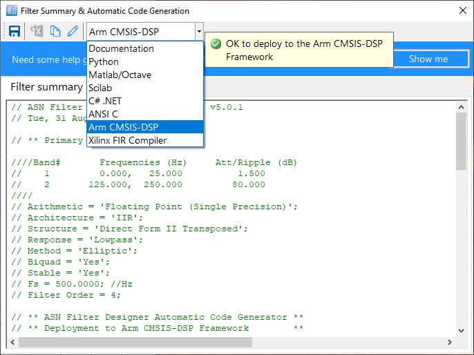 Le code C généré automatiquement basé sur le cadre CMSIS-DSP pour une implémentation directe sur un processeur Cortex-M basé sur Arm